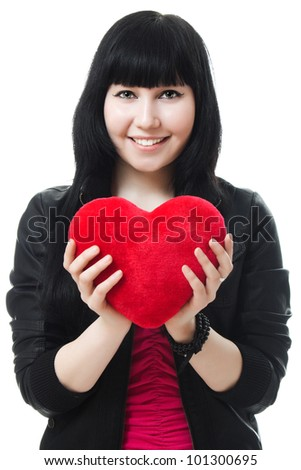 A beautiful woman with a heart on a white background.