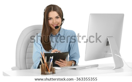 A beautiful woman with headphones and microphone working at the office, isolated on white