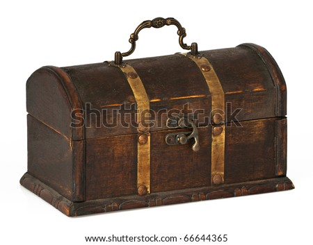 A beautiful wooden chest with golden stripes. - stock photo
