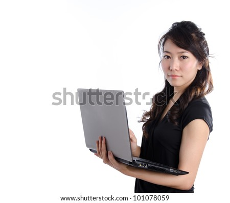 A beautiful young asian business woman - stock photo
