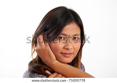 A beautiful young Asian woman - stock photo
