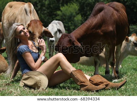 A beautiful young blond lady is sitting amongst the heifer cows and enjoying being out in the sun in nature.