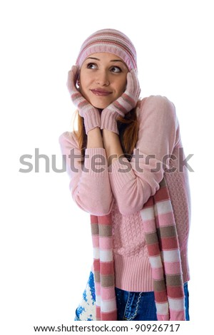 a beautiful young girl in a warm knitted clothes - stock photo