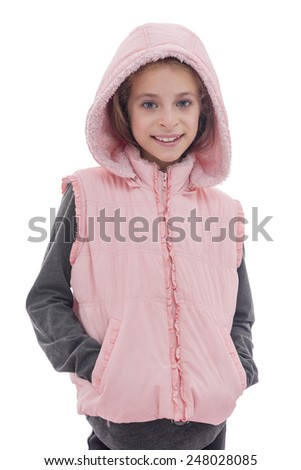 A Beautiful Young Girl in Pink Posing for Photo Isolated on White background - stock photo