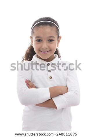 A Beautiful Young Girl Smiling Isolated on White background