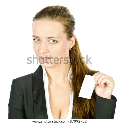 a beautiful young girl with a business card in hand, isolated over white