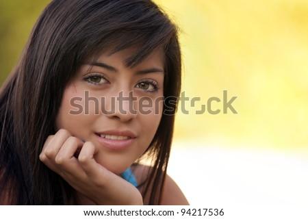 A beautiful young hispanic teenage girl. - stock photo