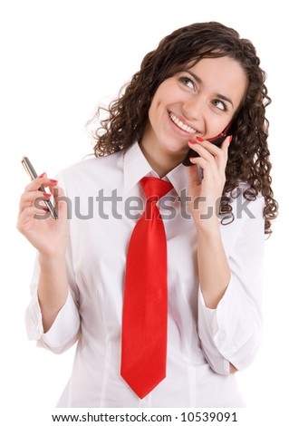 A beautiful young smiling  business woman speaking by mobile phone and on isolated white background. Shot in studio. - stock photo