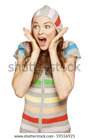 A beautiful young surprised woman. Isolated over white. - stock photo