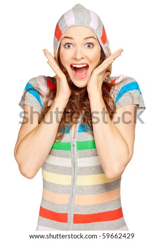 A beautiful young surprised woman looking at the camera. Isolated over white. - stock photo