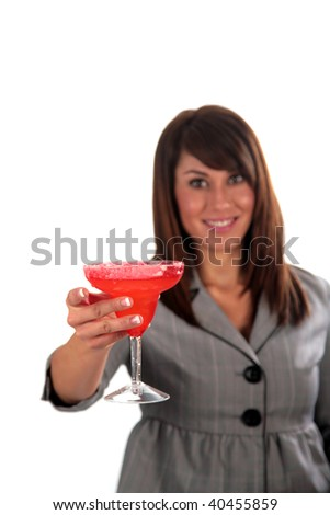 a beautiful young woman enjoys a cocktail, isolated on white - stock photo