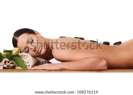 a beautiful young woman in a spa - stock photo