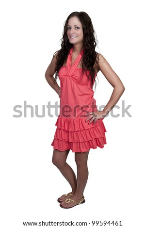 A beautiful young woman in a sundress
