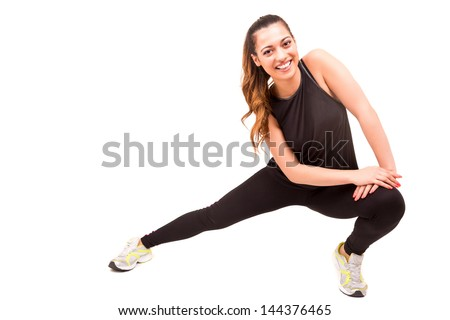 A beautiful young woman in great shape - fitness concept - stock photo