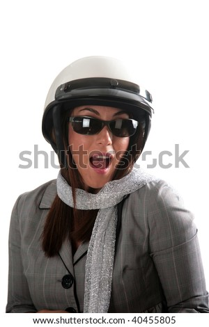 a beautiful young woman in her motorcycle helmet - stock photo
