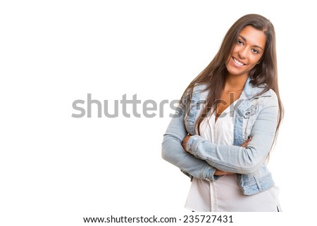 A beautiful young woman posing isolated