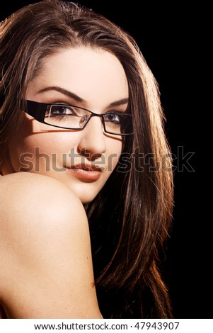 fashionable glasses for women  Beautiful Young Woman Wearing Fashionable Glasses Stock Photo ...