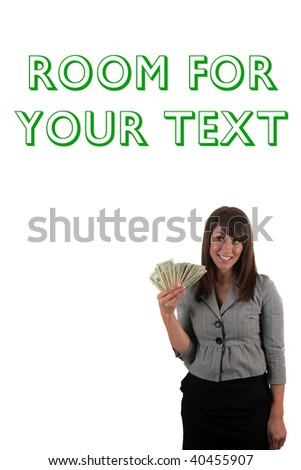 a beautiful young woman with a lot of money, isolated on white - stock photo