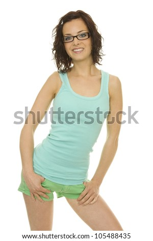 a beautiful young woman with perfect styling - stock photo