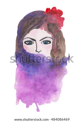 A beautiful young woman with red flower in her hair, hand painted watercolor illustration.