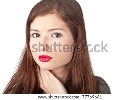 A beautiful young woman with red lips. Isolated on a white background - stock photo