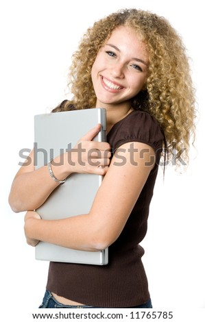 A beautiful young women hugging her portable computer - stock photo