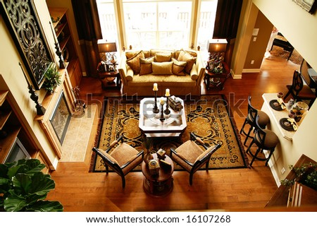 A beautifully decorated living room - stock photo