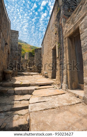 A beautifully preserved stone alley in the top tourist destination of Qinbi village on Beigan island of the Matsu Islands in Taiwan - stock photo