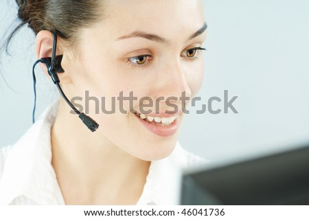 a beauty business woman wearing a headset