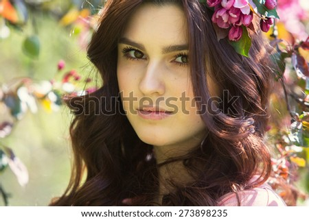 a beauty girl in nature - stock photo