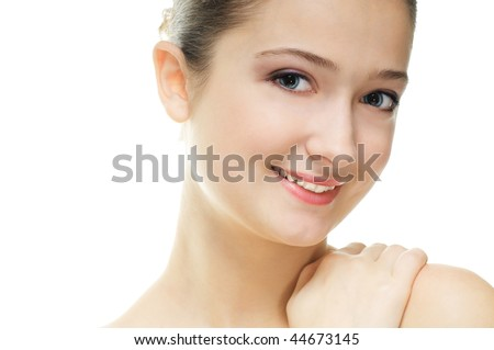 a beauty girl on the white background - stock photo