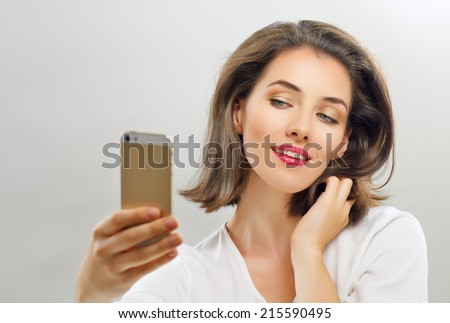 a beauty girl taking selfie - stock photo