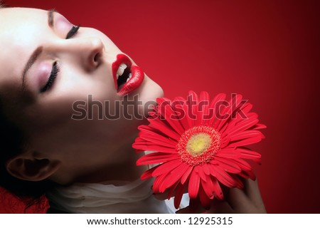 a beauty girl with red lips in sensual expression - stock photo