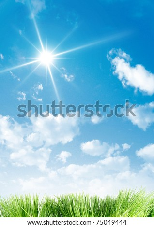 A beauty sky and grass - stock photo