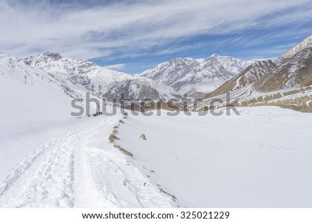A beauty trail to the lake Tilicho with in Nepal - stock photo