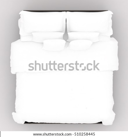A bed with a soft mattress. Top view, 3D Illustrator