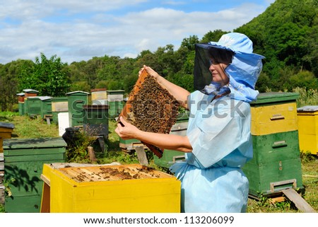 A beekeeper in veil at apiary among hives. - stock photo