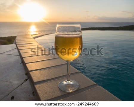 a beer at sunset - Curacao a tropical island in the Caribbean Ocean