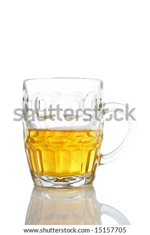 A beer mug reflected on white background. Path included