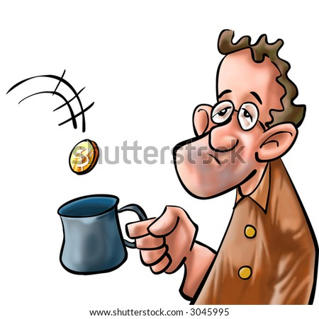 a beggar getting some coin in his mug - stock photo