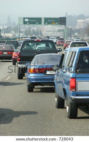 A behind the wheel view of some nasty commuter traffic - stock photo