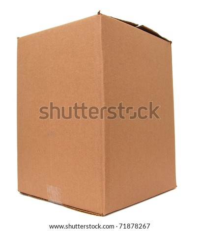 A beige box isolated white - stock photo