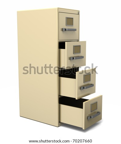 A beige filing cabinet with several open drawers. Isolated on white - stock photo