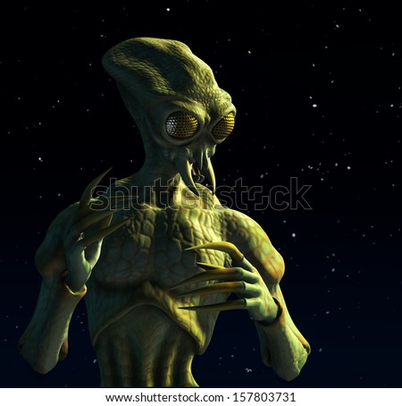 A being that evolved from insects might look like this - 3d render of an insect-like alien with a starry background. - stock photo