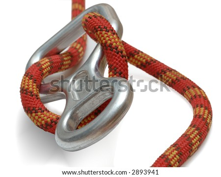a belay with rope - stock photo