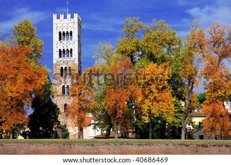 A bell tower of Lucca - stock photo