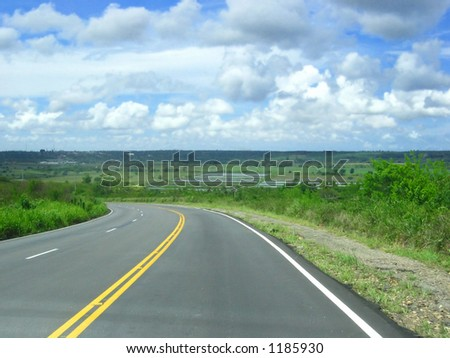 A bend in the road. - stock photo