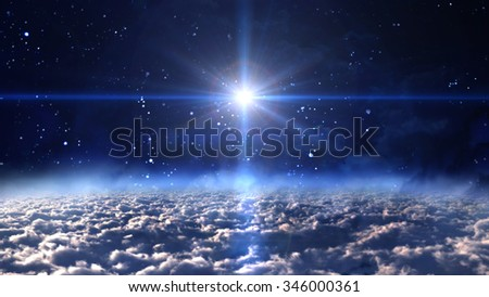 A Bethlehem illuminated by the Christmas star of Christ - Elements of this Image Furnished by NASA - stock photo