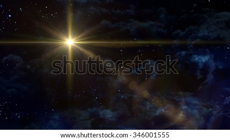 A Bethlehem illuminated by the Christmas star of Christ. - Elements of this Image Furnished by NASA - stock photo