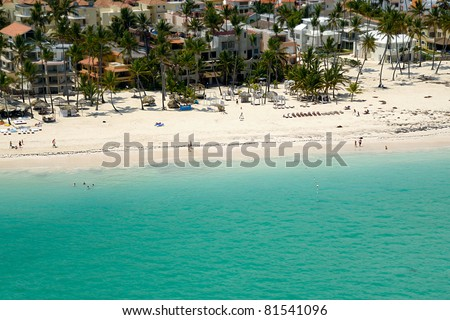 A beutiful beach in the caribbean. Taken form helicopter, Dominican Republic. - stock photo